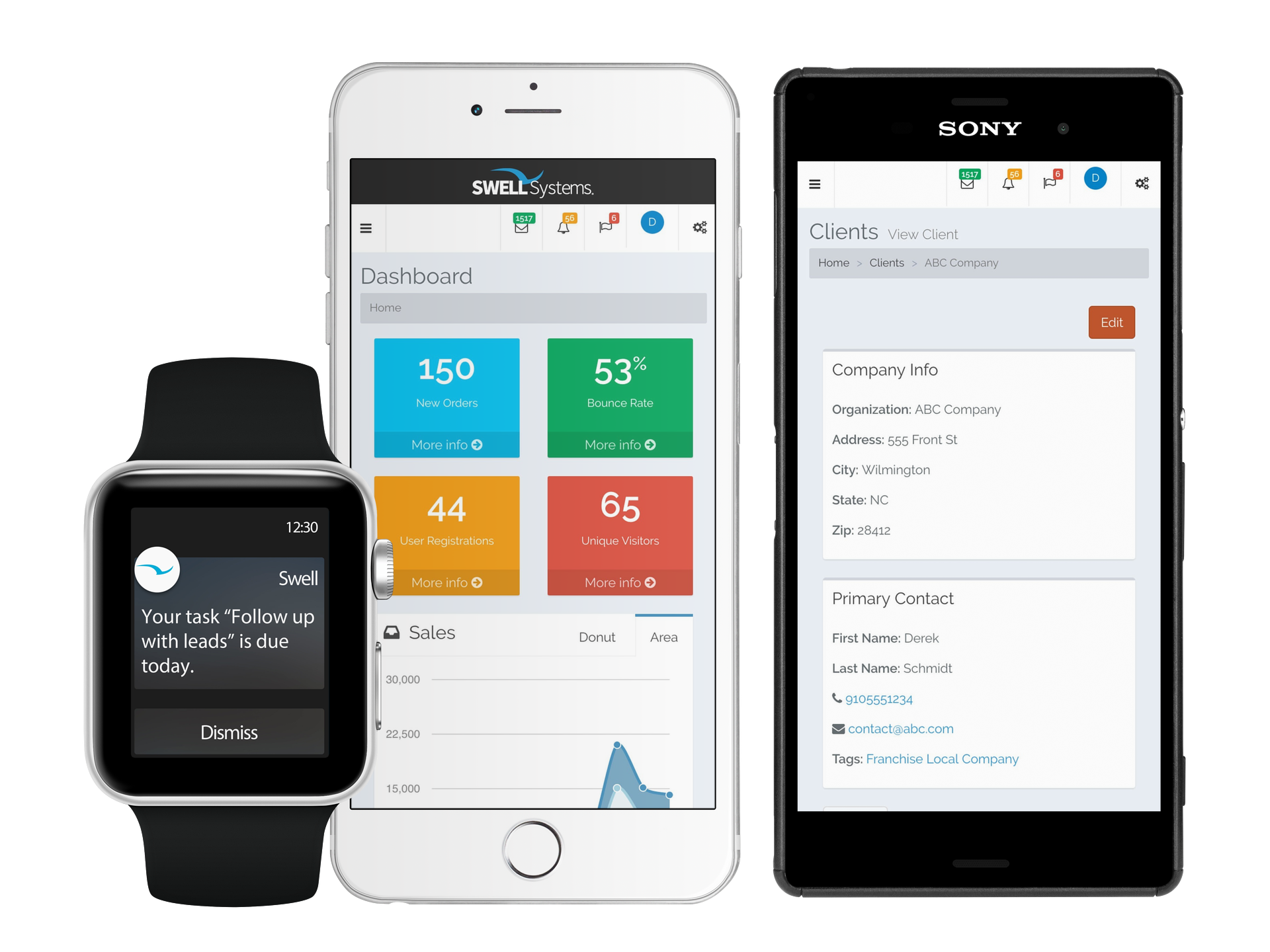 Mobile friendly smart all in one SWELLEnterprise CRM
